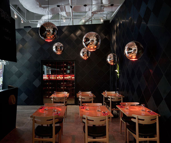 The Tastings Room by Studio SKLIM industrial aesthetics bistro lighting