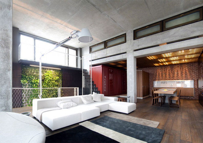 Warm Concrete loft apartment warm concrete living room