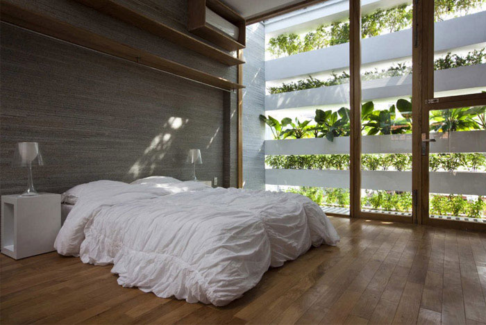 Stacking Green tube house interior bedroom
