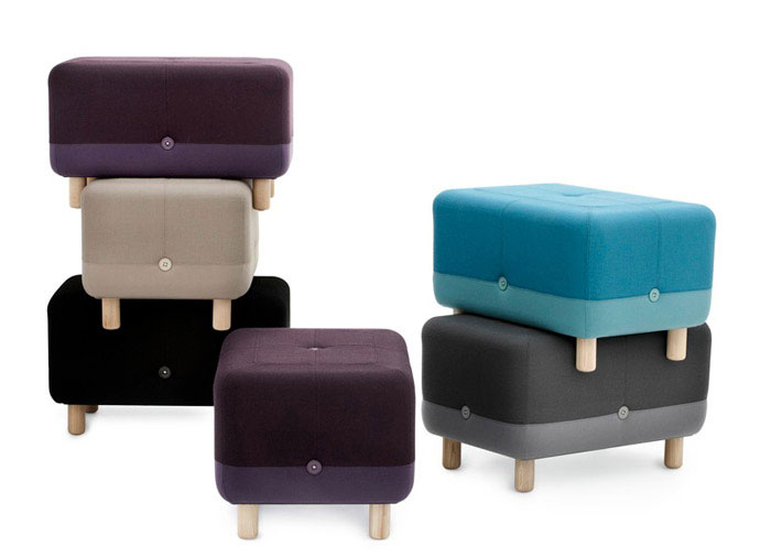 Playfully Combined by Simon Legald  wood textiles buttons pouf