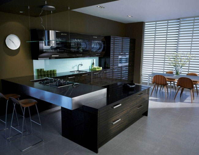 Designing your Kitchen Dark modern style glossy kitchen