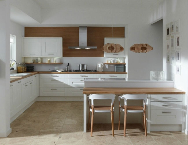 Designing your Kitchen White kitchen with natural wooden accents