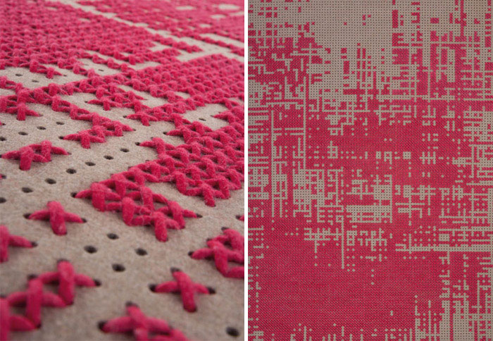 Pattern of Pixel like Crosses cross stitch carpet