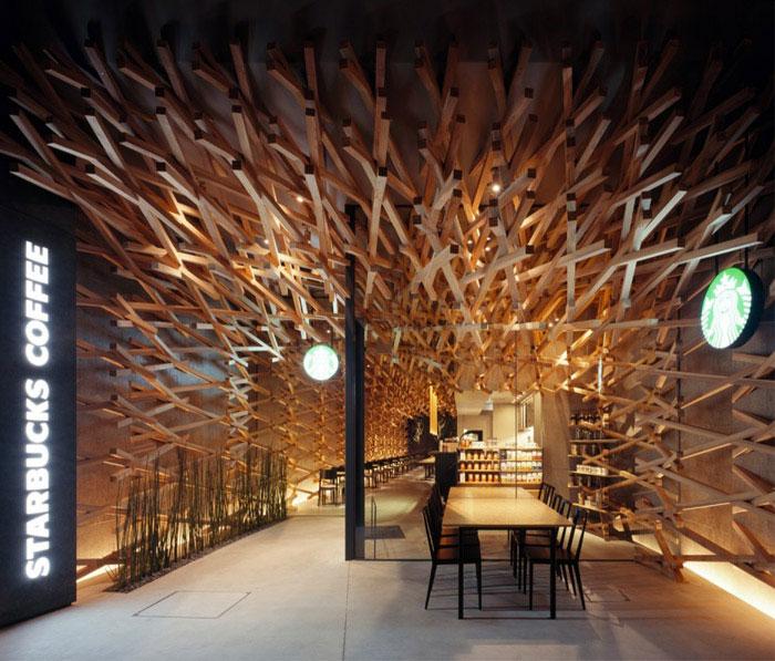 Cave like Space for Starbucks  starbucks coffee kengo kuma associates