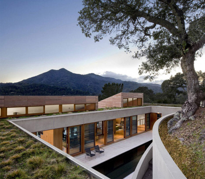 Hillside Residence living carved roof house