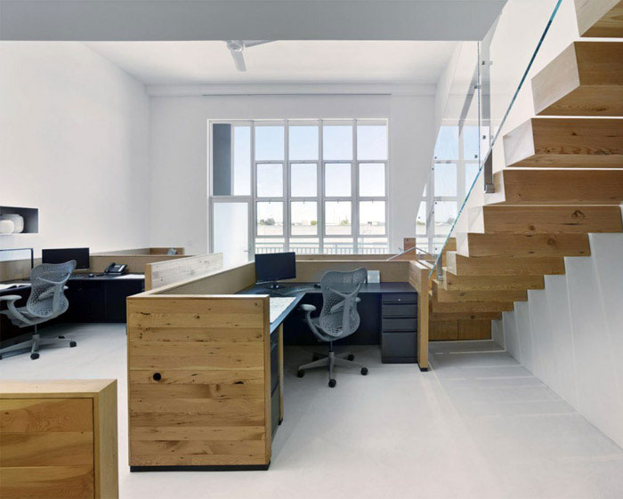 Green Office Space office space interior stairs