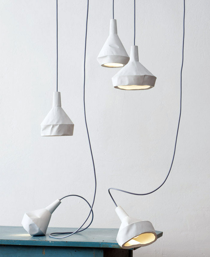 Like Paper slewed concrete lamp