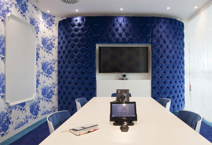 Google's new super HQ offices interior decor blue
