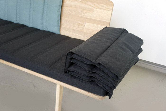 Tri fold Bench three layered upholstered panels