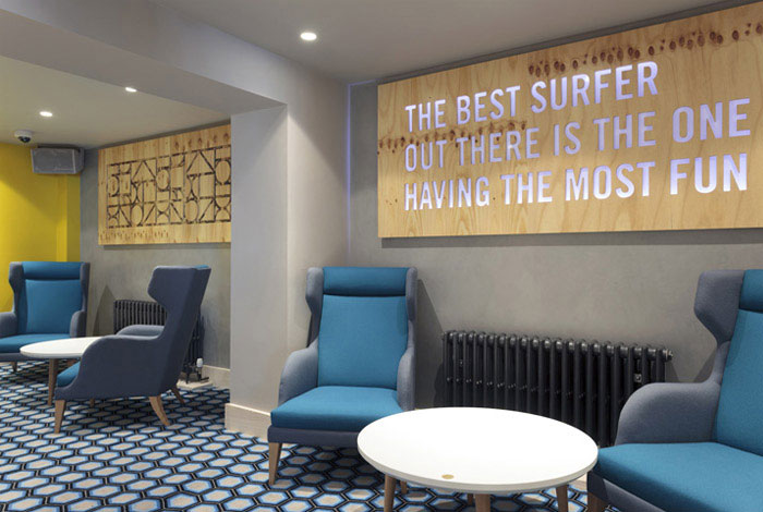 Surf inspired bar and club interiorzine for Surfboard bar top ideas