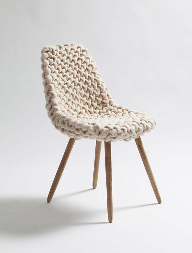 Extra Dose of 'Cuddly' into Modern Furniture smok wool chair decor