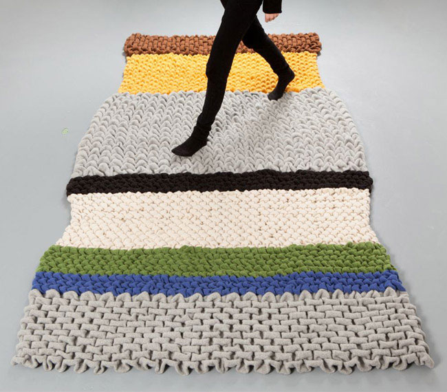 Extra Dose of 'Cuddly' into Modern Furniture wooly material rug
