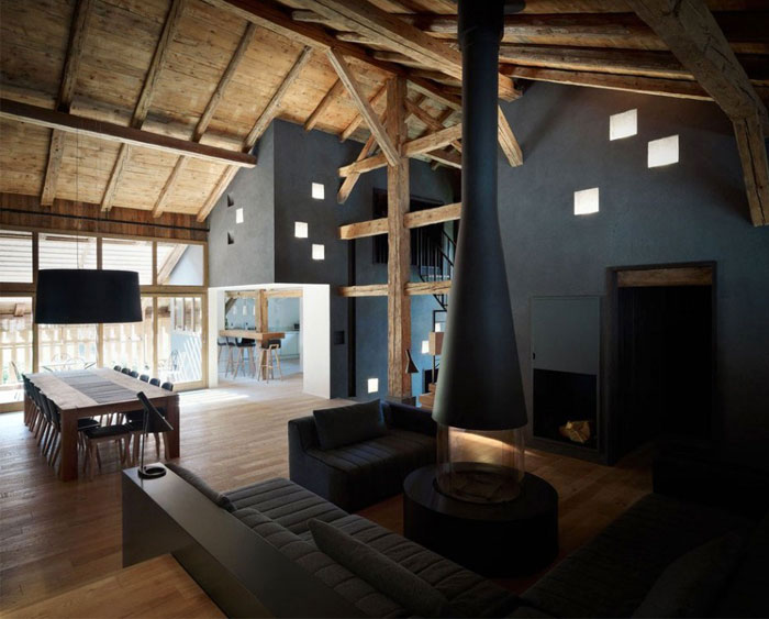 Redesigned Historical Farmhouse in France living room around fire