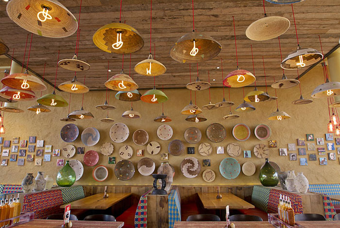 Nandos restaurant by B3 Designers interior space lighting