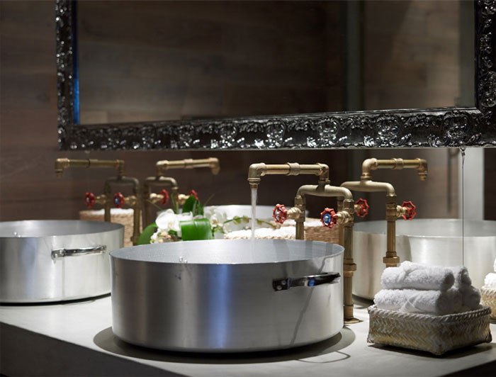 Amazing Restaurant Decor restaurant decor pots sinks