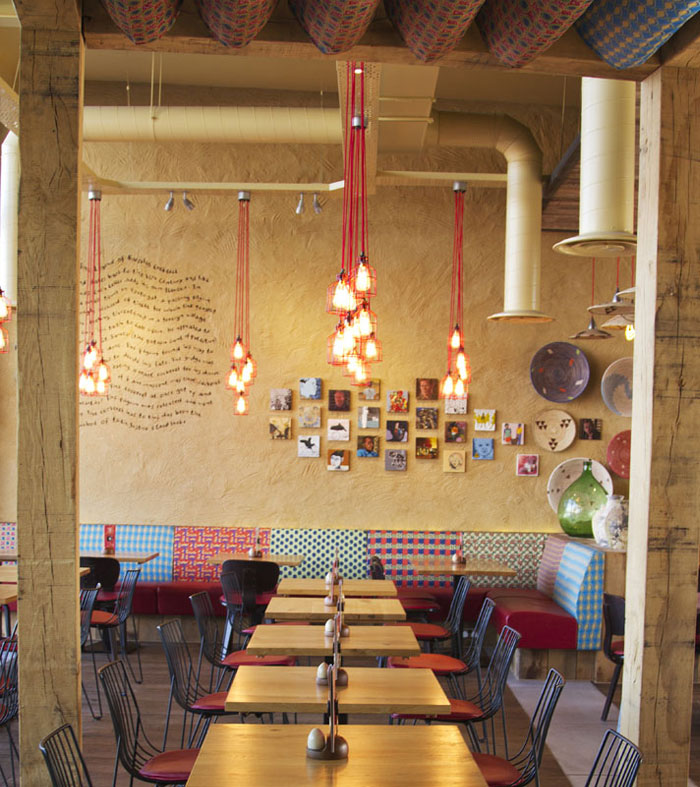 Nandos restaurant by B3 Designers restaurant hundred light shade