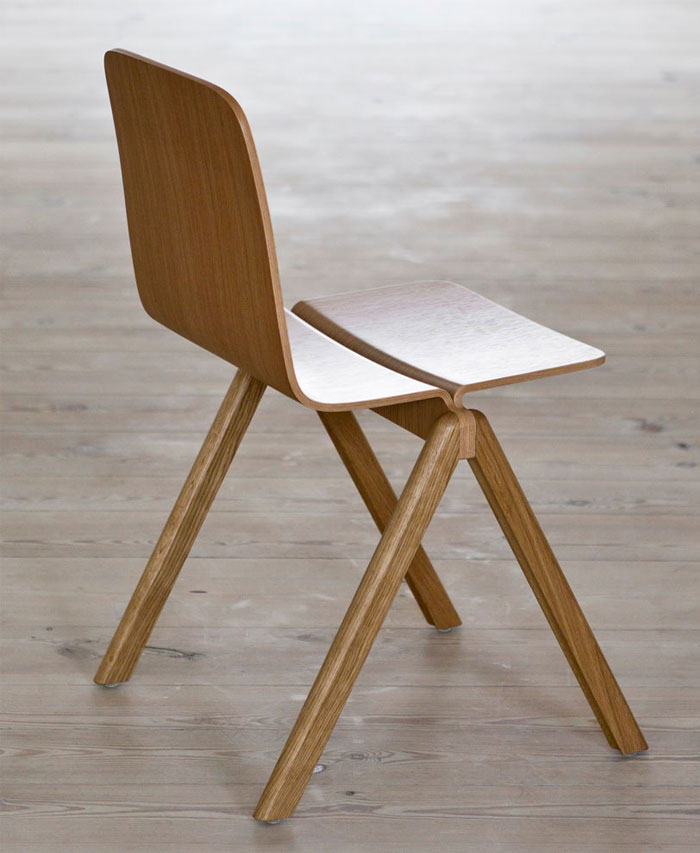 Table and Chair by Ronan and Erwan Bouroullec for HAY stackable wooden chair