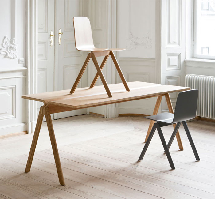 Table and Chair by Ronan and Erwan Bouroullec for HAY wooden chair bouroullec
