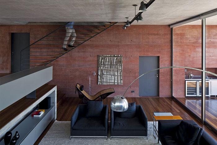 Boacava House red concrete wall