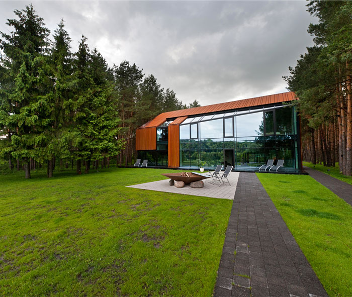 House Composed of Glass and Rusted Steel glass rusted steel house5
