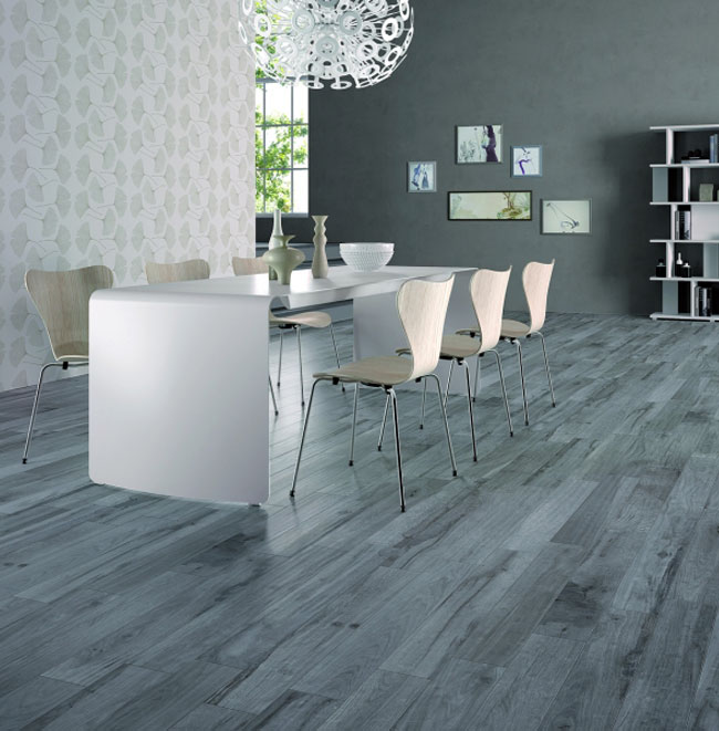 Dining Room Flooring: Ceramic Tile That Looks Like Weathered Wood