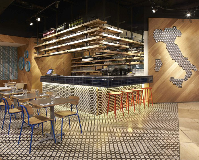 Restaurant Bar Wall Decor : Colorful ceramic tiles at the decor of an italian