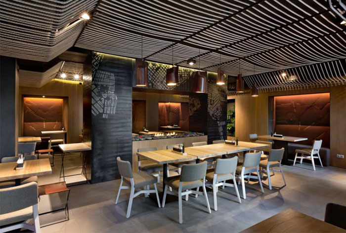 Contemporary twist to the interior design of a restaurant Restaurant interior design pictures