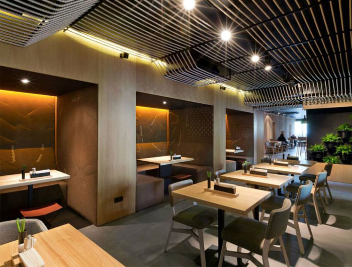 Contemporary twist to the interior design of a restaurant