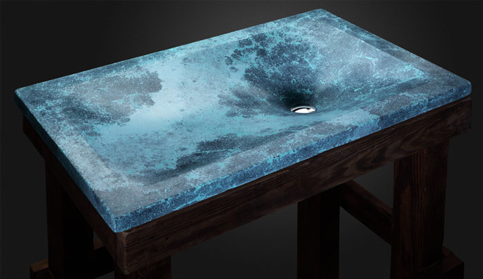 thor s well caribbean blue concrete sink by pietra. Black Bedroom Furniture Sets. Home Design Ideas