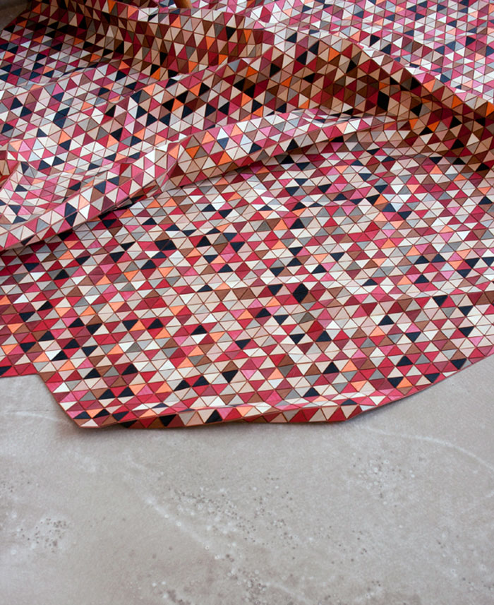 Wooden Rug with Dyed Wood triangle strips colored geometric patterns4