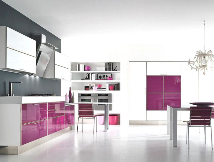 Home Decorating Color Trends for 2014 color trend purple kitchen furniture1