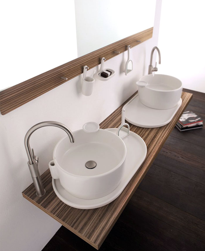 Wall mounted double washbasin cabinet ukiyo e interiorzine for Double sink countertop bathroom