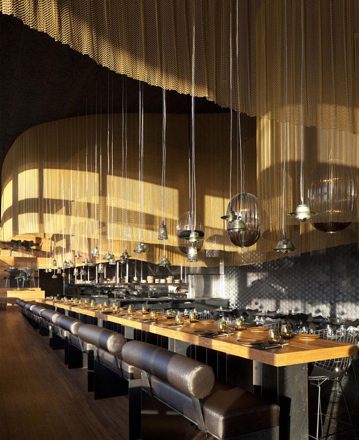 Nhà hàng trang trí nội thất ở Golden Color Scheme nhà hàng bếp lửa