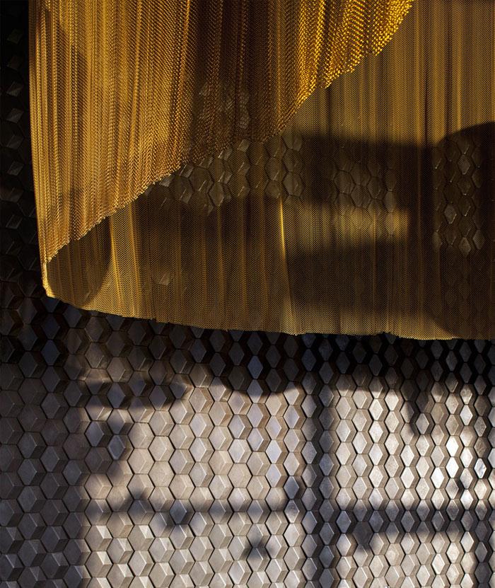 Nhà hàng trang trí nội thất ở Golden Color Scheme nhà hàng trang trí vàng