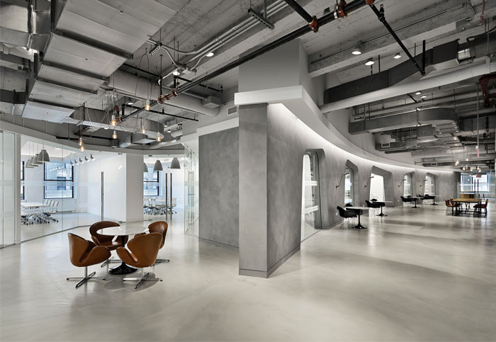 Industrial aesthetic office space in empire state building for Industrial office interior