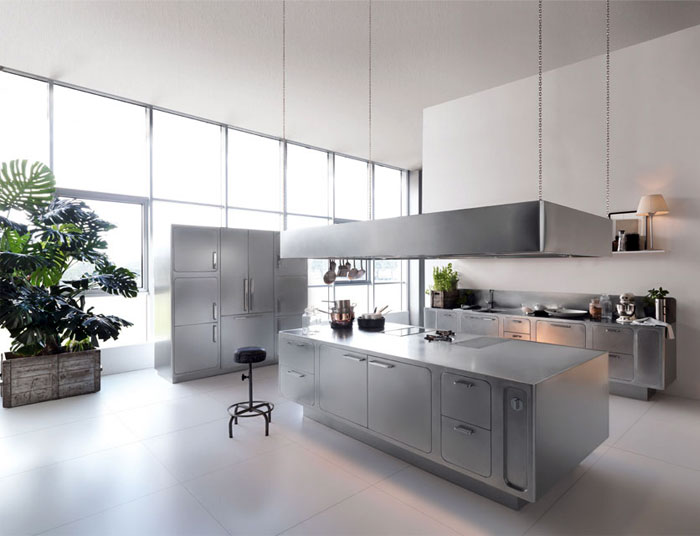 Stainless steel kitchen design by abimis interiorzine for Stainless steel kitchen designs