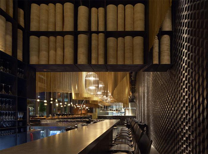 Nhà hàng trang trí nội thất ở Golden Color Scheme giỏ hơi không gian uống