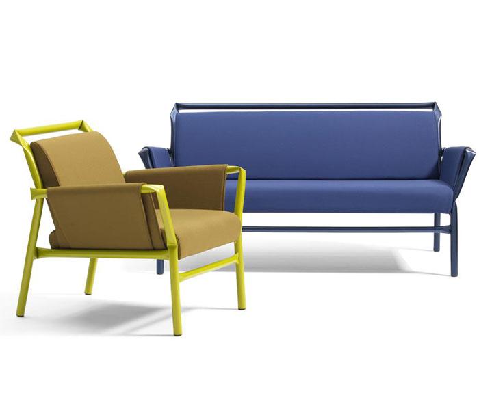 Nội thất ống thép trong màu sắc rực rỡ màu xanh Cheerful đồ nội thất bằng thép ống