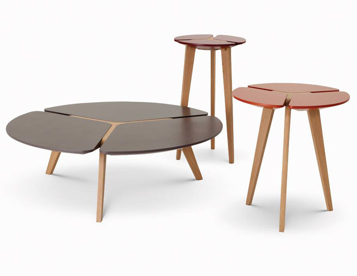Sculptural solid oak dining tables by sacha lakic for Roche bobois tables basses