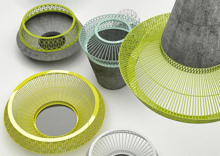 Container bê tông trang trí bằng 3 chấm tập thể bộ đồ ăn bằng kim loại bê tông