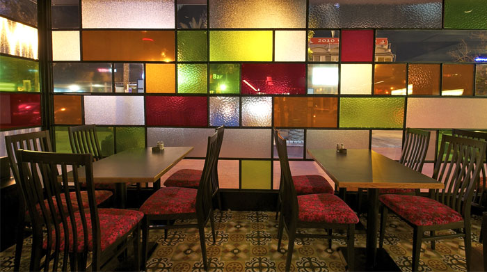 Restaurant Decor With Colored Glass Windows Interiorzine