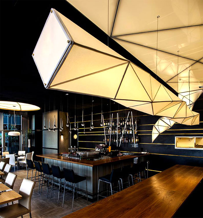 very trendy and stylish suspended light fixture in restaurant made ...