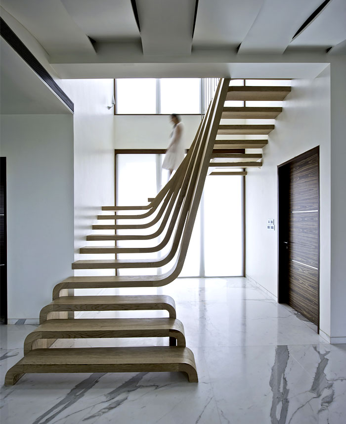 Modern Interior Staircase Materials Photo: Sophisticated Indian Apartment With Woven Staircase