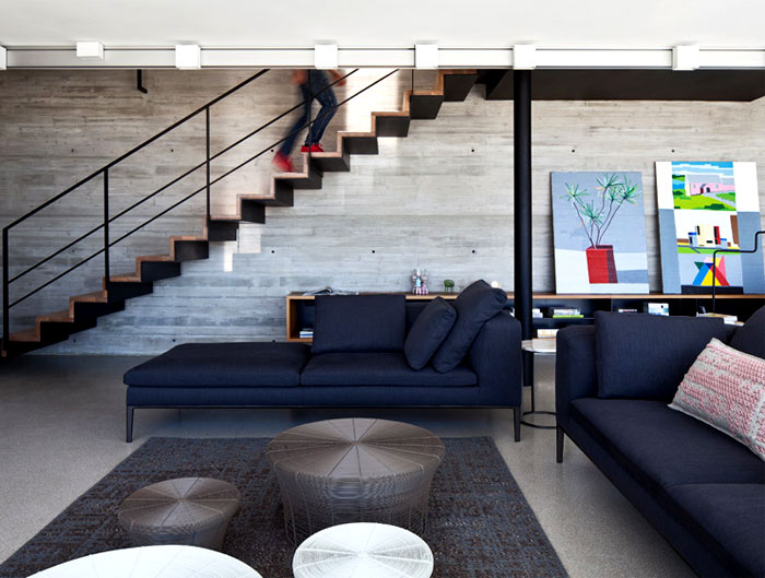 Rooftop Apartment With Exposed Concrete Walls Interiorzine