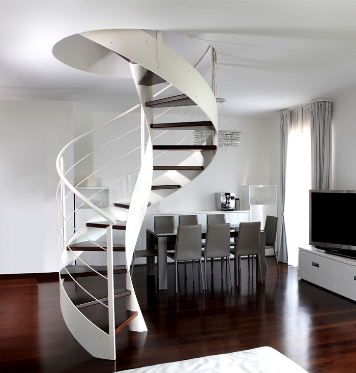Steel spiral staircase by rizzi interiorzine for Pre built stairs interior