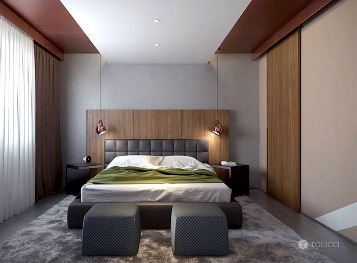 concrete-wall-behind-bed-tiled-floor