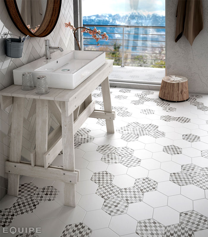 Hexagonal floor tiles by equipe ceramica interiorzine for Carrelage 50x50