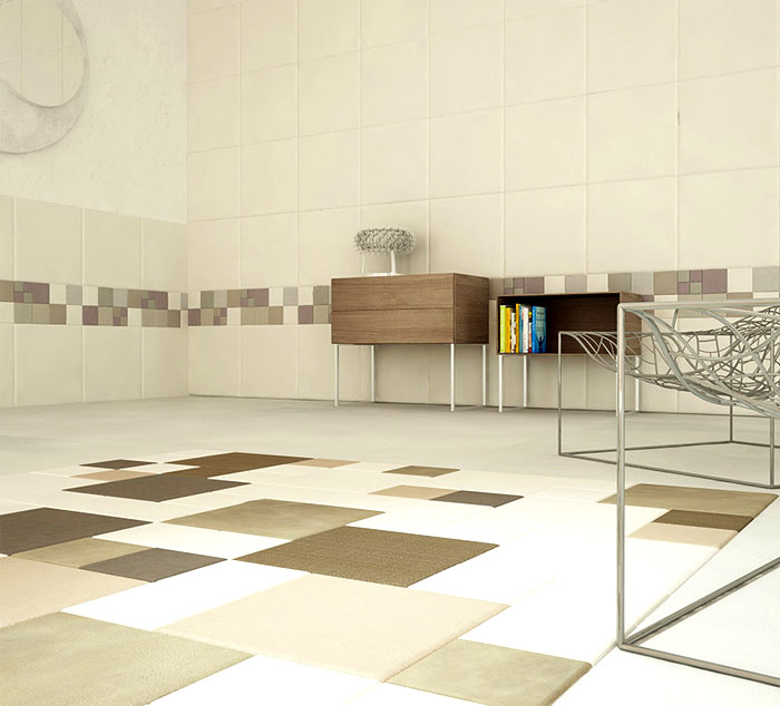 Leather wall and floor tiles by lapelle design interiorzine - Unique floor covering ideas ...