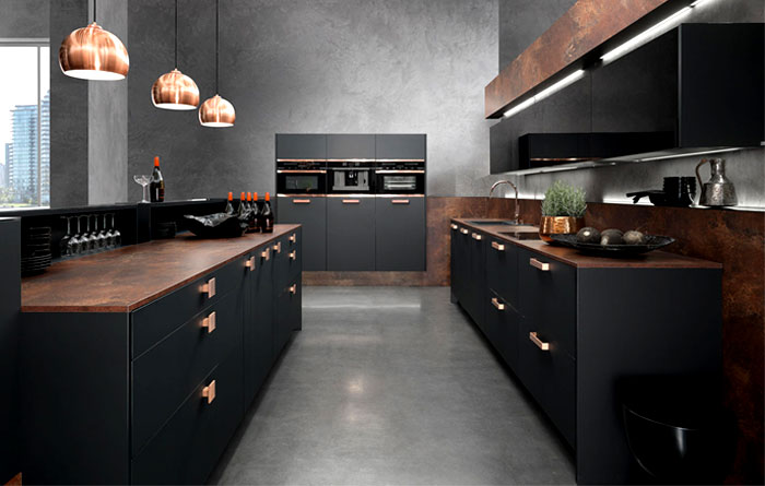Interior design trends 2015 the dark color schemes are for Cuisine noir mat