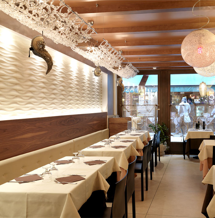 Restaurant Wall Cladding : Traccia wall panel by lithos design at marciana restaurant